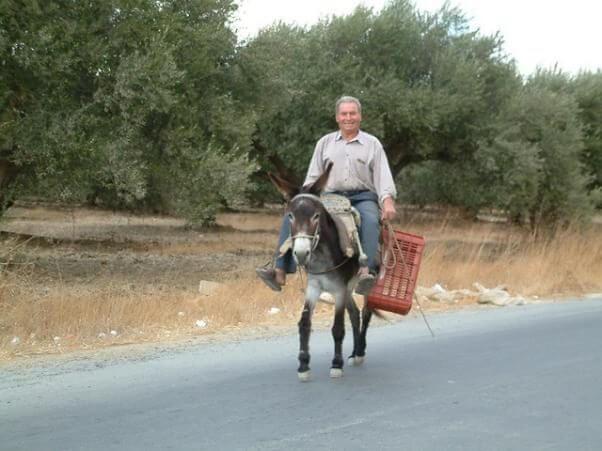 Un hombre de campo, circulando por una carretera secundaría, mientras monta su burro.