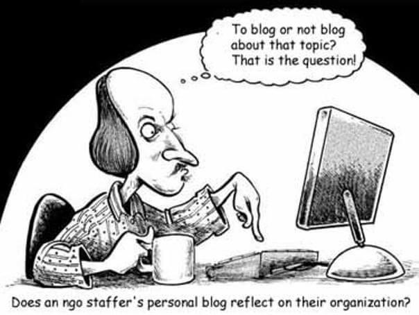 Una caricatura de William Shakespeare, como sise tratara de un bloguero a punto de presionar el botón de publicar.