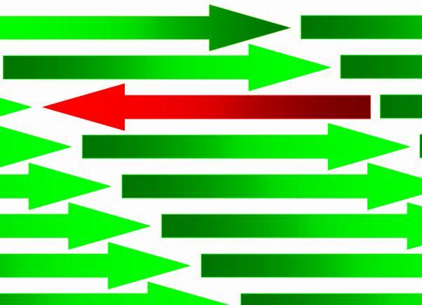 Multitud de flechas verdes que se dirigen hacia la derecha, y una sola flecha roja que se dirige a la izquierda