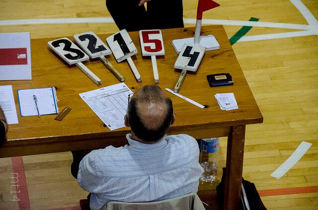 Un hombre, que parece ser un arbitro en alguna modalidad deportiva, sentado en una mesa de madera. Sobre ésta hay diversos objetos, entre ellos unas paletas con puntuaciones entre 1 y 5 donde elegir. Ejemplifica el dilema que todo líder cuando debe tomar una decisión. El modelo de decisión normativa de Vroom-Yetton-Yago puede ayudar en este sentido.