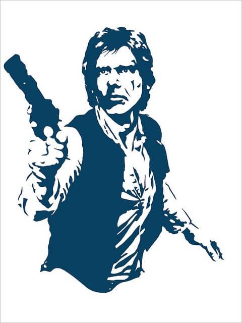Una imagen de Han Solo en blanco y negro.