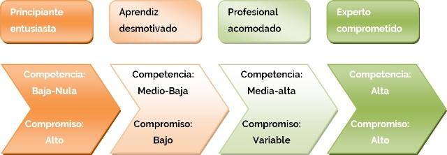 Representación de los distintos grados de madurez de un equipo dependiendo de su nivel de competencia profesional y su nivel de compromiso con la consecución de los objetivos.