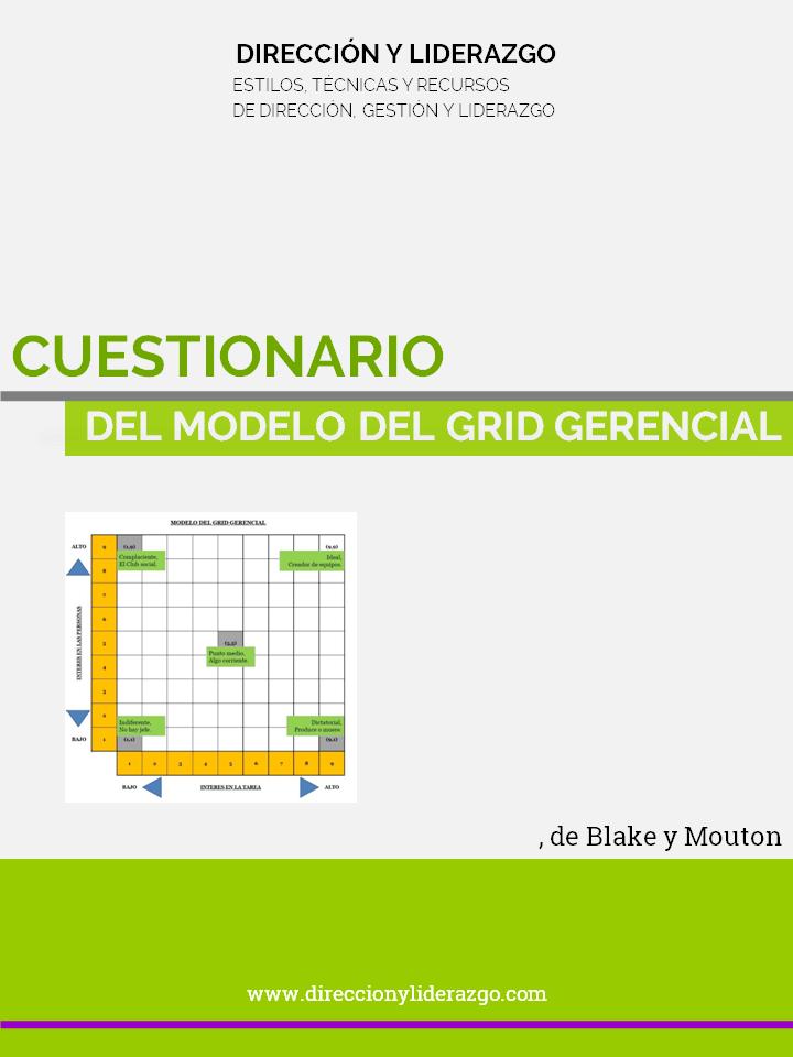 Portada del cuestionario del modelo del grid gerencial de Blake y Mouton, desarrollado por Direccion y Liderazgo (DyL).